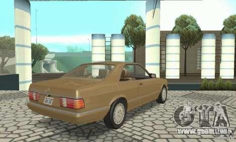 Mercedes-Benz W126 560SEC pour GTA San Andreas sur la vue arrière gauche