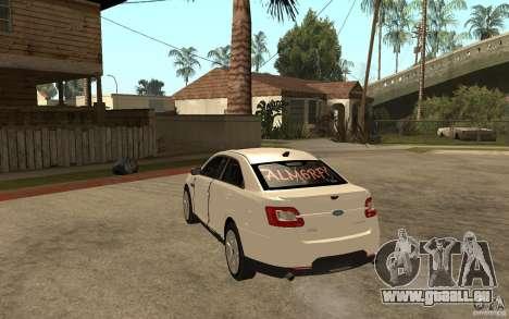 Ford Taurus 2010 für GTA San Andreas zurück linke Ansicht