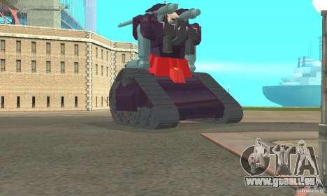 Tank RX-75-4 Guntank für GTA San Andreas zurück linke Ansicht