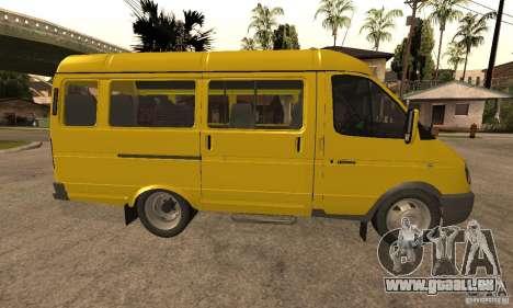 Minibus de Novossibirsk Gazelle 32213 pour GTA San Andreas sur la vue arrière gauche