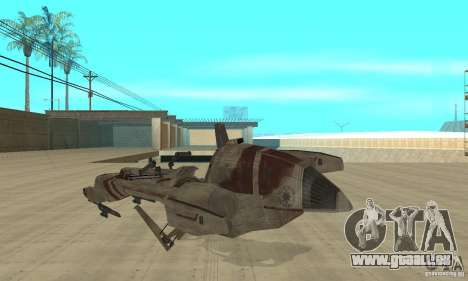 Star Wars speedbike pour GTA San Andreas sur la vue arrière gauche