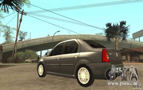 Dacia Logan Prestige 1.6 16v pour GTA San Andreas sur la vue arrière gauche
