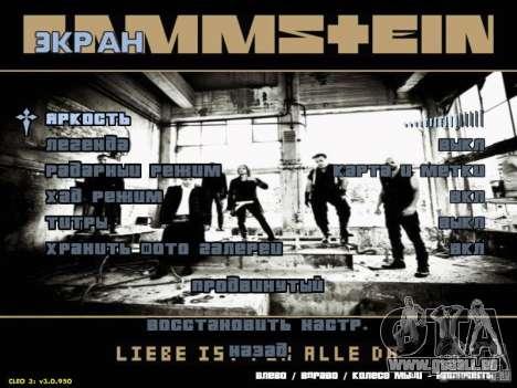 Menu de Rammstein pour GTA San Andreas troisième écran