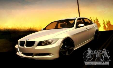 BMW 330 E90 pour GTA San Andreas vue arrière