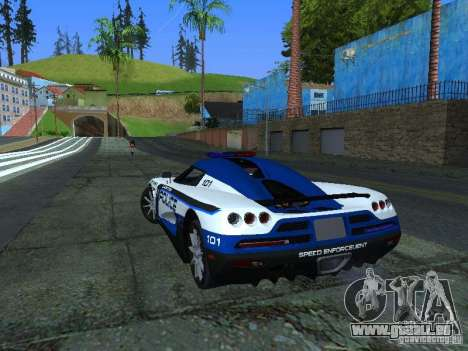 Koenigsegg CCX Police pour GTA San Andreas sur la vue arrière gauche