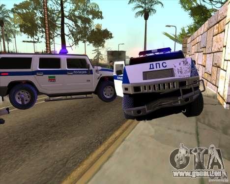 Hummer H2 DPS pour GTA San Andreas vue de dessus