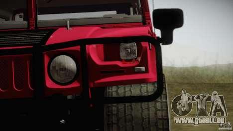 Hummer H1 Alpha Off Road Edition für GTA San Andreas zurück linke Ansicht