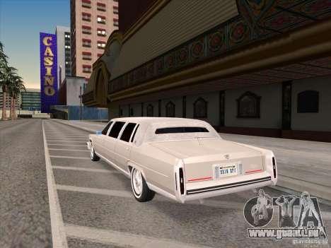 Cadillac Fleetwood Limousine 1985 für GTA San Andreas zurück linke Ansicht