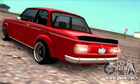 BMW 2002 Turbo pour GTA San Andreas vue intérieure