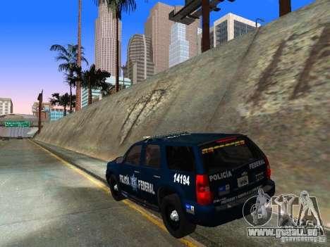 Chevrolet Tahoe 2008 Police Federal pour GTA San Andreas sur la vue arrière gauche