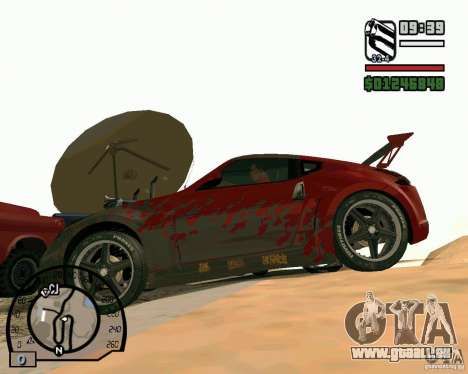 Nissan 370Z Undercover für GTA San Andreas zurück linke Ansicht