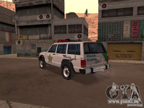 Jeep Cherokee Police 1988 pour GTA San Andreas sur la vue arrière gauche
