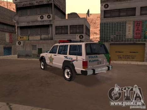 Jeep Cherokee Police 1988 für GTA San Andreas zurück linke Ansicht