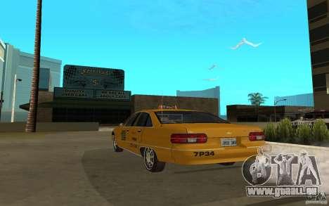 Chevrolet Caprice taxi pour GTA San Andreas laissé vue