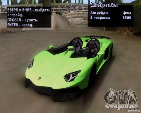 Lamborghini Aventador J TT Black Revel pour GTA San Andreas vue de dessus
