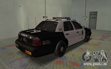 Ford Crown Victoria Police Interceptor LSPD für GTA San Andreas zurück linke Ansicht