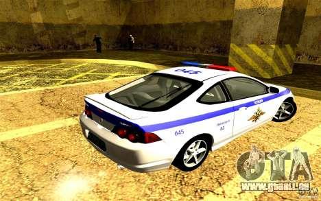 Acura RSX-S Police pour GTA San Andreas laissé vue