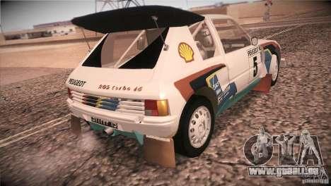 Peugeot 205 T16 pour GTA San Andreas vue arrière