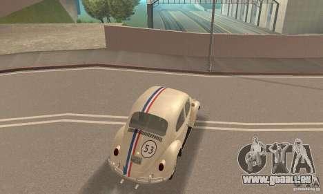 Volkswagen Beetle 1963 pour GTA San Andreas vue de dessus