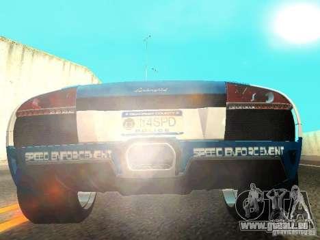 Lamborghini Murcielago LP640 Police V1.0 pour GTA San Andreas vue arrière