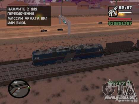 Locomotive électrique VL65-douze-AC pour GTA San Andreas sur la vue arrière gauche
