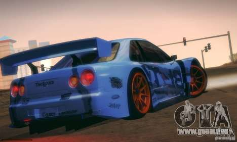 Nissan Skyline Touring R34 Blitz für GTA San Andreas Rückansicht