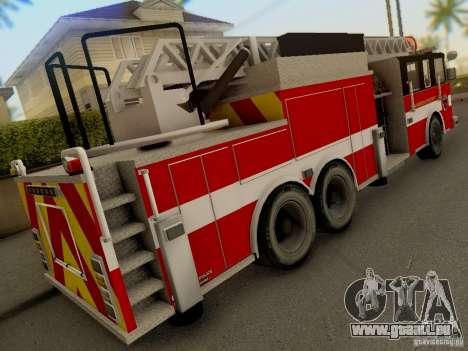 Pierce Firetruck Ladder SA Fire Department für GTA San Andreas Rückansicht