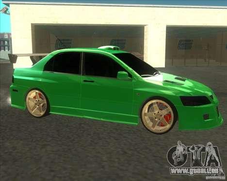 Mitsubishi Lancer Evo 9 Drift style pour GTA San Andreas sur la vue arrière gauche