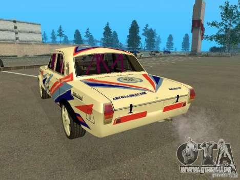 Volga GAZ 24-10 Rallye pour GTA San Andreas sur la vue arrière gauche