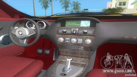 BMW 645Ci pour GTA Vice City sur la vue arrière gauche