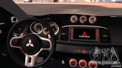Mitsubishi Lancer Evolution X Tunable für GTA San Andreas Unteransicht