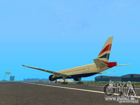 Boeing 777-200 British Airways pour GTA San Andreas sur la vue arrière gauche