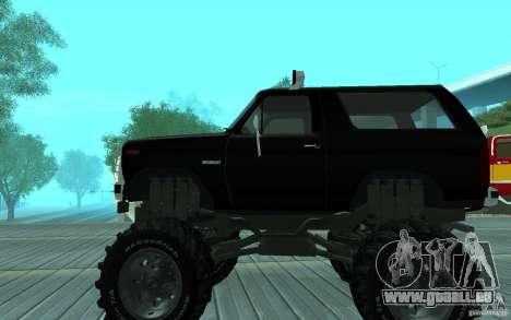 Ford Bronco Monster Truck 1985 für GTA San Andreas zurück linke Ansicht