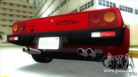 Lamborghini Jalpa P350 1984 pour une vue GTA Vice City de l'intérieur