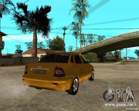 LADA 2170 « priora » Taxi pour GTA San Andreas sur la vue arrière gauche