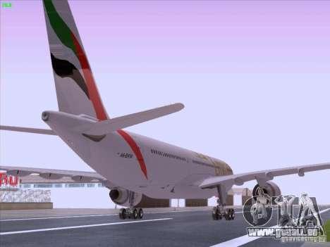 Airbus A330-200 Emirates pour GTA San Andreas sur la vue arrière gauche