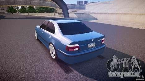 BMW 530I E39 e63 white wheels pour GTA 4 Vue arrière de la gauche
