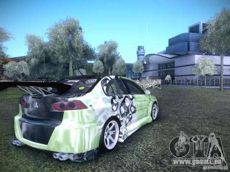 Mitsubishi Lancer Evolution X - Tuning pour GTA San Andreas sur la vue arrière gauche