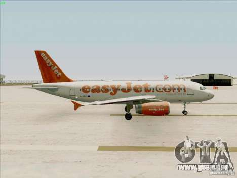 Airbus A319 Easyjet für GTA San Andreas Rückansicht