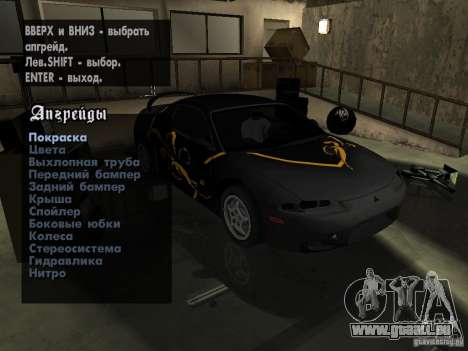 Mitsubishi Eclipse 1998 Need For Speed Carbon pour GTA San Andreas vue arrière