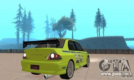 Mitsubishi Lancer Evo The Fast and the Furious 2 pour GTA San Andreas laissé vue