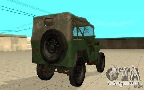 Gaz-64 peau 1 pour GTA San Andreas sur la vue arrière gauche
