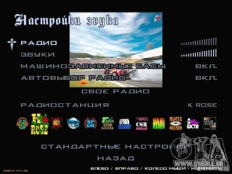 Formule menu de style Drift pour GTA San Andreas quatrième écran