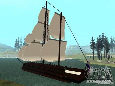 XVIII Century Battleship pour GTA San Andreas sur la vue arrière gauche