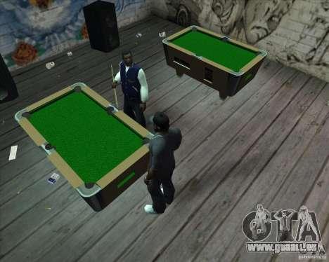 Nouvelle table de billard pour GTA San Andreas deuxième écran