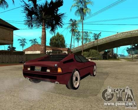 BMW M1 für GTA San Andreas zurück linke Ansicht
