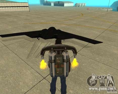 B-2 Spirit Stealth pour GTA San Andreas sur la vue arrière gauche