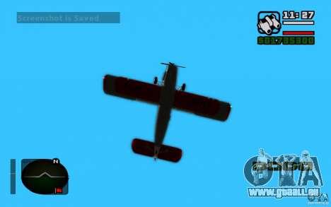 Antonov an-2 pour GTA San Andreas sur la vue arrière gauche