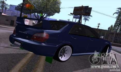 Subaru Impresa WRX light tuning pour GTA San Andreas vue de droite