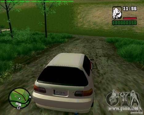 Honda Civic Hellaflush pour GTA San Andreas laissé vue